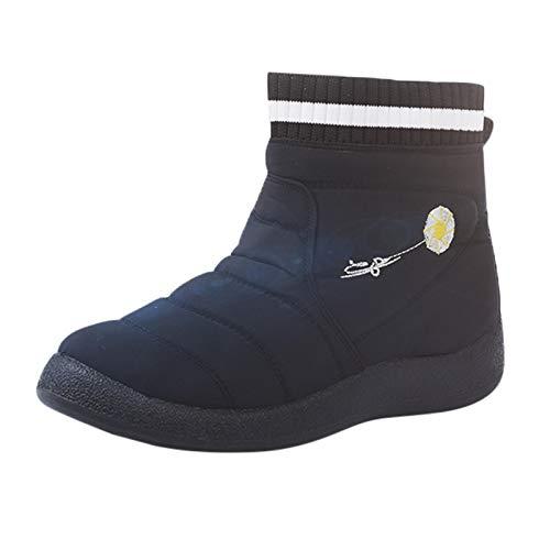 Botas de algodón cálidos Casuales de Punto de Vuelo de Gran tamaño Botas de Nieve Botas de Mujer Invierno Rebajas Altas Tacon Planas cuña Piel Negras Media caña Sexy