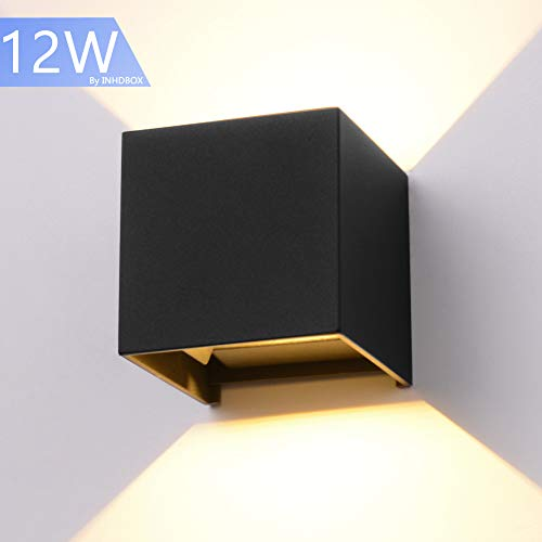 "LED Aluminum Waterproof Wall Lamp,12W 85-225V 3200K Adjustable Outdoor Wall Light Warm Light 3.94"" (Black-warm light)"