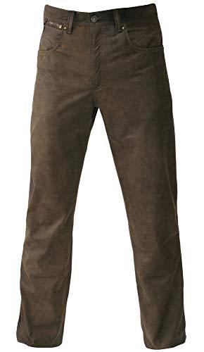 MADDOX Lederhose Glattleder Hose Leder Trachtenhose lang Trachten Lederjeans braun Robustes Nubukleder Biker Jeans Antik-Patina Trachtenlederhose Five-Pocket Reißverschluß Zipp, Größe:34