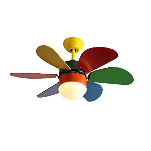 Ventilador de techo con luz, con control remoto y luz LED variable tricolor, 24w / 6 aspas, luz de ventilador regulable para sala de estar, dormitorio, habitación de niños
