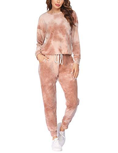 Hotouch Track Suits for Women Set Tie Dye Sweatsuit 2 Piece Jogger Sets Warm Up Suits