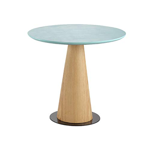 Yxsd Wooden Round Sofa Table, Coffee Table Round Table Sofa Table Small Apartment Living Room Balcony Coffee Table (Color : Light blue, Size : 45 * 50cm)