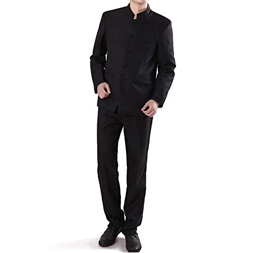 Chinese Tunic Suits Mandarin Collar Formal Black Suit Slim Fit Front Button Japanese School Uniform Groom Dress (Black, M)