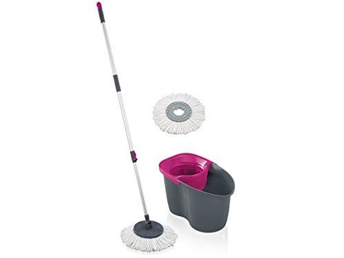 Leifheit Set Clean Twist Disc Mop 60 Years Edition pink, Wischer für nebelfeuchte Reinigung, Wischmopp mit Schleudertechnologie, Schleudermop ohne Fußbedienung, Bodenwischer mit Click-System