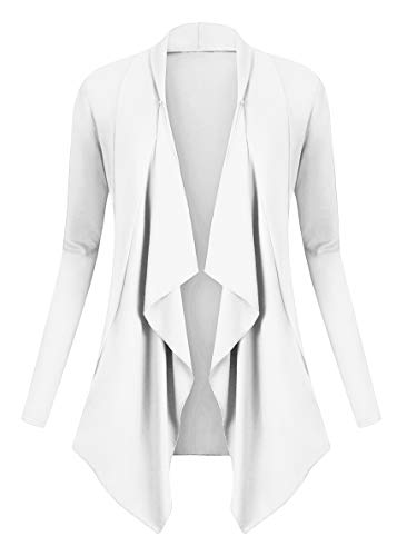 Urban GoCo Donna Cardigan Drappeggiato Aperto Davanti a Maniche Lunghe e Orlo Irregolare Giacca Top (XL, Bianco)