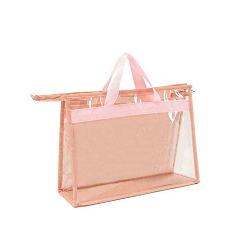 ZGHYBD 1 x Storage Bag Handbag Dust Cover Breathable Moisture-Proof Dustproof Womens,Extra Large Storage Bag, Clear Heavy Duty Bags, Moth and Moisture Protection Storage Bags L Pink