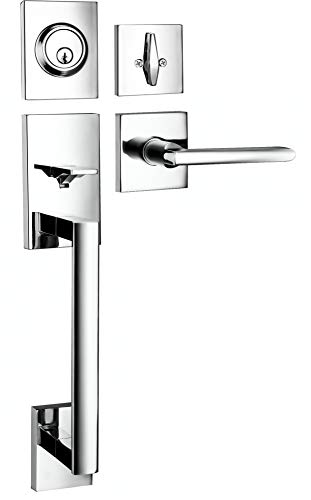 Berlin Modisch HandleSet Front Door Entry Handle and Deadbolt Lock Set Slim Square Single Cylinder Deadbolt and Lever Reversible for Right & Left Sided Doors Heavy Duty – Polished Chrome Finish