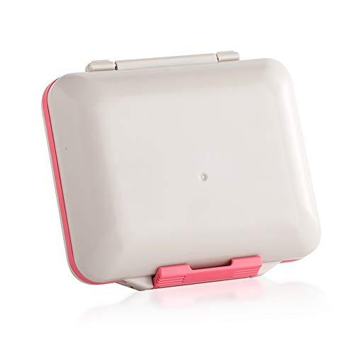 AQzxdc Pillenetui mit herausnehmbarem Fach, tragbarer Reise-Tagesmedikament-Vitamin-Organizer-Box für Geldbörse oder Tasche,Rot