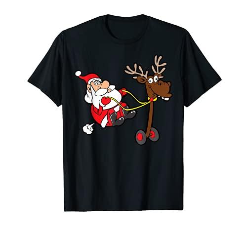 Lustiger Weihnachtsmann Santa Claus Rentier Nikolaus T-Shirt