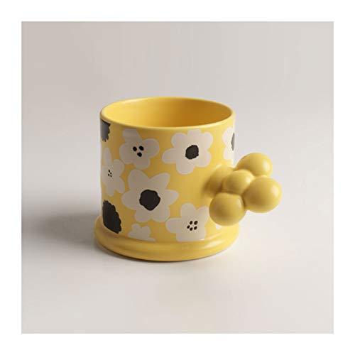 Taza de cerámica para el hogar o la oficina, taza de café pintada a mano, taza de té de 235 ml taza de agua regalo de cumpleaños (color amarillo)