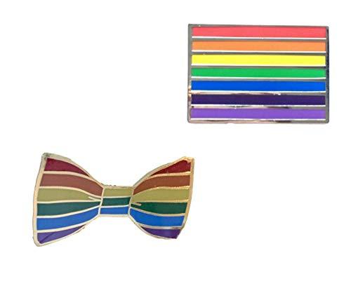 Smartbadge® Regenbogen Fliege und Regenbogen länglich Gay Pride LGBT Harte Emaille Reversnadel