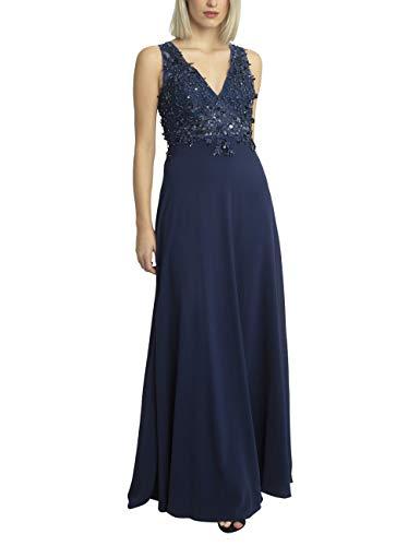 APART glamouröses Damen Kleid lang, Abendkleid, Ballkleid, großer Rückenausschnitt, Blütenspitze, mit Perlen und Pailletten, Chiffon, Navy, 38