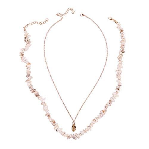 Yowablo Halskette Damenmode Einfacher europäischer und amerikanischer WildFashion-Schmuck (Beige)