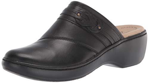 Clarks Women#039s Delana Juno Clog Black Leather 10