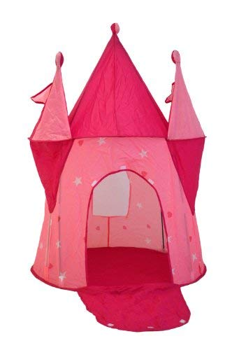 Charles Bentley Kids Princess Fairy Castle Turrets Play Tent Indoor Outdoor - Folds Flat -Lightweight in Pink