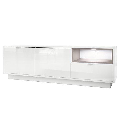 Vladon TV Board Lowboard Metro, Korpus in Weiß Hochglanz/Fronten in Weiß Hochglanz mit Einsatz in Mocca matt, inkl. LED Beleuchtung
