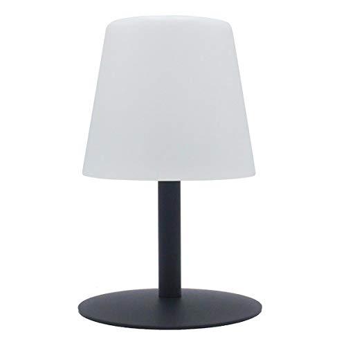 Lampe de table sans fil pied en acier gris LED blanc chaud/blanc dimmable STANDY MINI Rock H25cm