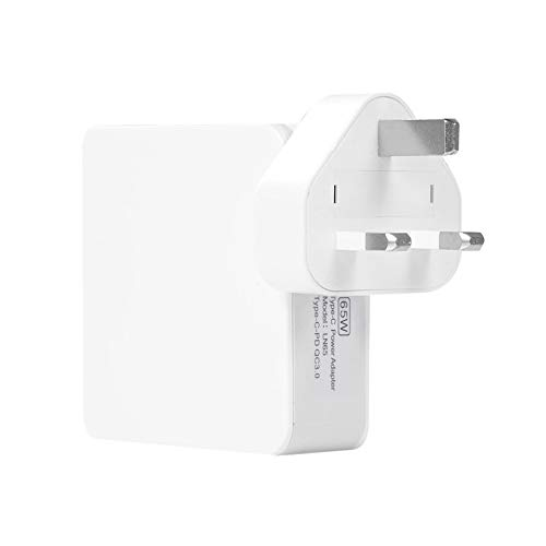 65W PD Charger QC3.0 Fast Charge PD+QC3.0 Quick Charger for Apple Tablet Phone Uk,White
