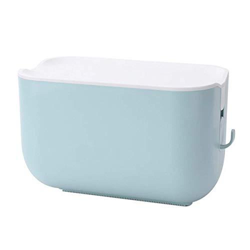 2 Piezas Soporte de Papel higiénico Impermeable montado en la Pared Autoadhesivo con Gancho Organizador de baño Caja de pañuelos de plástico Soporte de Papel en Rollo Azul