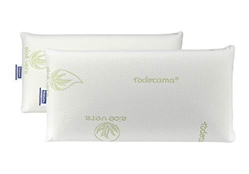 Todocama - Almohada viscoelástica, núcleo Compacto. Doble Funda con Cremallera. Tejido Aloe Vera Plus. Termorregulable adaptabilidad al Cuello. (Pack de 2 Unidades - 70 cm)