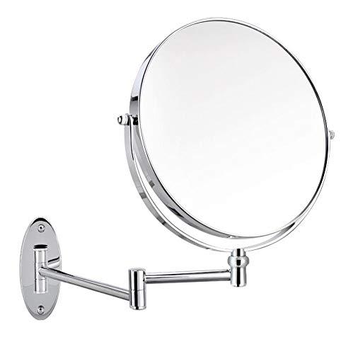 Bath Miroirs muraux Grossissement 3X / 1X, Miroirs de Maquillage Double Face Miroirs de courtoisie, à rallonge,Silver_6inch