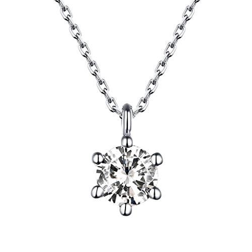 WoWer Halskette Schneeflocken Damen Kette Anhänger 925 Sterling Silber Eiskönigin\'\'45cm Kettenlänge