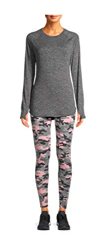 Cuddl Duds ClimateRight Women's Plus Brushed Comfort Thermal Top and Leggings, 2-Piece Set (S/CH) Pink Camo