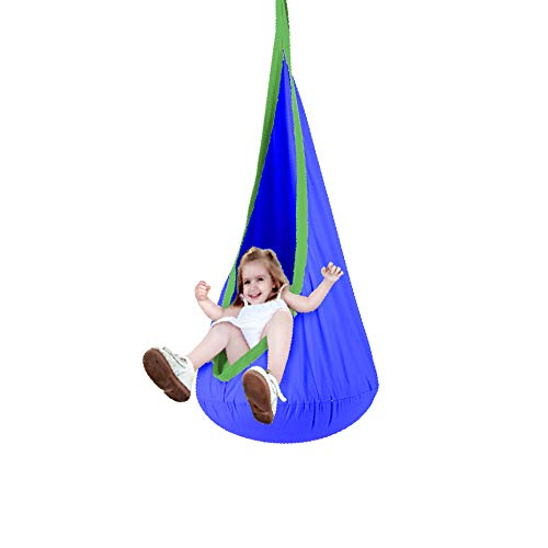 Finnhomy Kids Hammock Pod Chair, 100% Cotton Hanging Chair for Children, Swing Seat and Tree Swing for Child Indoor and Outdoor Use, All Accessories Included, Dark Blue