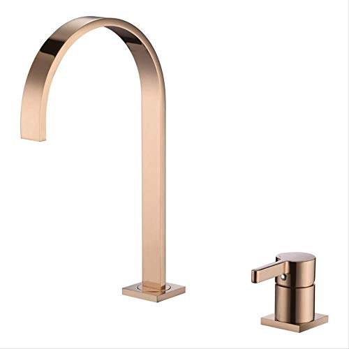 Baño simple por separado Oro rosa,Grifo de Cocina 360° Giratorio Grifo Cepillado para Fregadero Grifería Monomando Acero Inoxidable Diseño Ángulo Vertical Agua Fría y Caliente