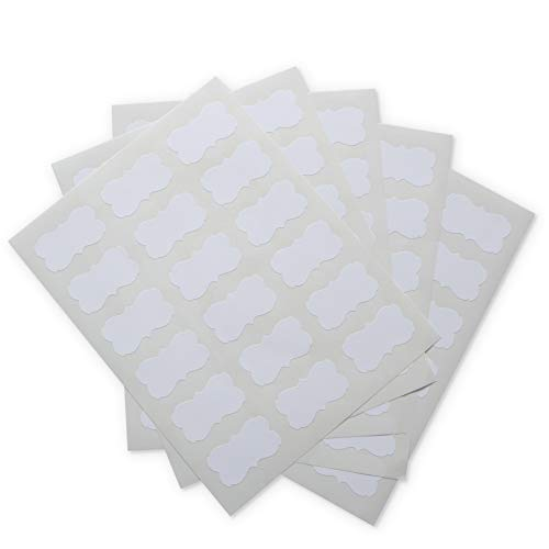 Crinklee Waterproof Essential Oil Labels, 90 Scallops, 2.2x1.3 Inches, Oil Proof, Highly Durable, Strong Glue, for 10ml and Larger Bottles and Rollers