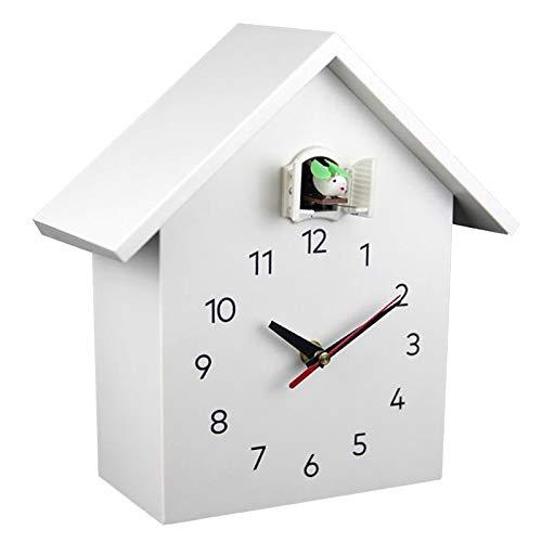 FLAMEER Reloj de Pared de Cuco, Voces de pájaros Naturales o Llamadas de Cuco, Péndulo de Reloj de Casa de pájaros, Arte de Pared hogar Sala de Estar Cocina - Blanco