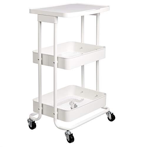 Amazon Basics - Carrito de cocina, de metal, de dos alturas, con repisa, blanco