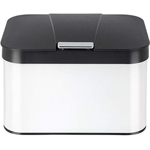 ONVAYA® Biomülleimer für die Küche | Komposteimer mit Deckel | Abfallbehälter aus Edelstahl für Biomüll | Weiß | Bio Abfalleimer | geruchsfrei & luftdicht | 4,3 Liter