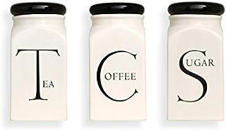 Fairmont & Main Script Tea/Coffee/Sugar Storage Jar Set, Ceramic Cream, 9.8 x 9.8 x 20.5 cm