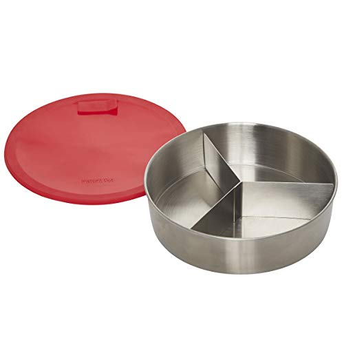 Instant Pot Official Round Cook/Bake Pan with Lid & Removable Divider, 7-inch, 32 ounce capacity, Red with Solid base