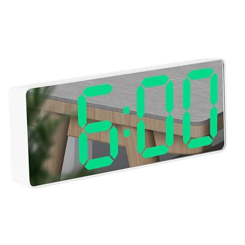 QLWY Reloj sobremesa, Alarma de Espejo Portátil con Pantalla de Fecha y Temperatura Función Despertado, LED Espejo Grande, USB y Funciona con Pilas, para Dormitorio/Viajes/Oficina/Cocina (Green/2)