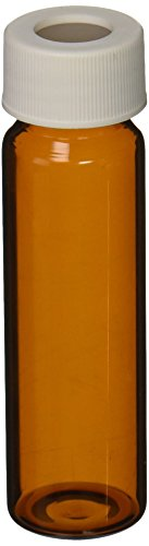 JG Finneran 9A-103-3 Amber Borosilicate Glass Precleaned and Certified VOA Vial with White Polypropylene Open Top Closure and 0.125
