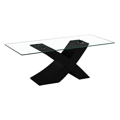 Tavolo da Pranzo Cucina Soggiorno in vetro e legno mdf - EGLEMTEK TM (Nero) 181 x 90 x 76 cm