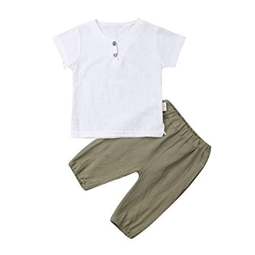 Toddler Kid Baby Boys White Short Sleeve T-Shirt Top Cotton Linen Short Pants 2Pcs Summer Outfit (6-12M, White+Green)