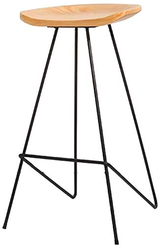 Dongy Holz-Barhocker, Fußstütze, Esszimmerstühle für Küche/Pub/Bar, moderne Einfachheit, Barhocker, Bogenkiefer, schwarze Metallbeine (Größe: 75 cm)