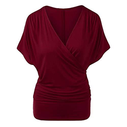 Zegeey Damen T-Shirt GroßE GrößEn Einfarbig V-Ausschnitt Kurzarm Geraffte Top Bluse Oberteil Tops Shirts Schicker Elegant LäSsige Lose (Wein,54 DE/5XL CN)