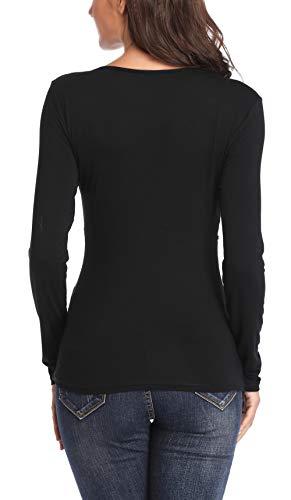 MISS MOLY Mujer Camisas Vieira v Cuello Blusa de Encaje Floral Negro Large