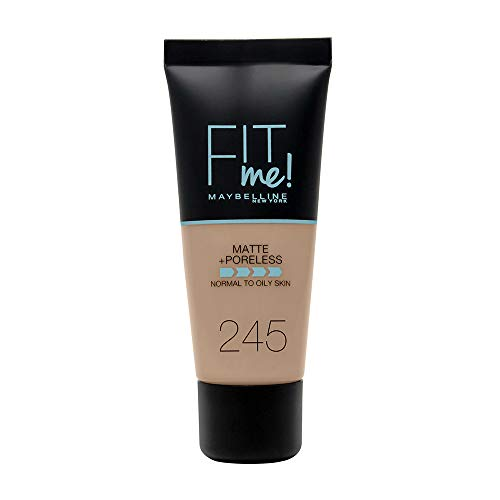 Maybelline New York - Fit Me, Base de Maquillaje Mate Afina Poros, Tono 245 Classic Beige - 30 ml