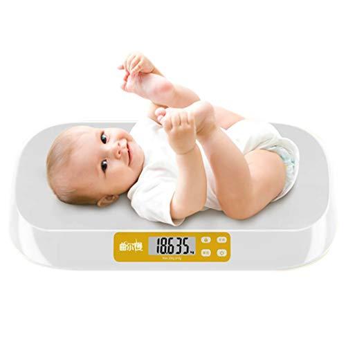DPPAN Digital Báscula Bebe, Báscula Evolutiva Báscula Mascotas Digital, Capacidad máxima de 20 kg / 44 LB, Alta precisión 5 g,White