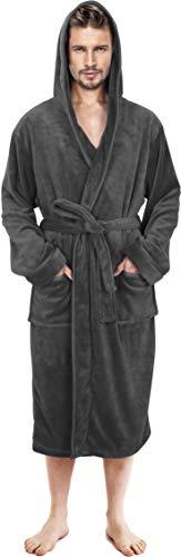 NY Threads Mens Hooded Fleece Robe - Plush Long Bathrobes for Men