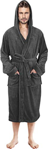 NY Threads Mens Hooded Robe - Plush Long Bathrobes for Men (Grey, Large/X-Large)