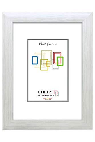 Chely Intermarket, Marco de Fotos 40x50cm MOD-257 (Blanco), Hecho de Madera MDF, Perfil Frontal de 3cm con Acabado Elegante. Estilo galería. Apto para certificados, Posters y orlas(257-40x50-0,95)