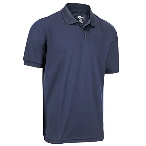 Camisetas polo masculinas premium com absorção de umidade, Azul marino, XX-Large