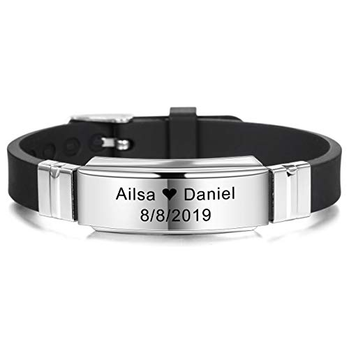 MeMeDIY Personalized Bracelet Engraving Names Silicone Sport Wrist Identification ID Tag Bracelet Customized for Men Women Kids Stainless Steel Rubber Adjustable - (15mm Wide, Black Color)