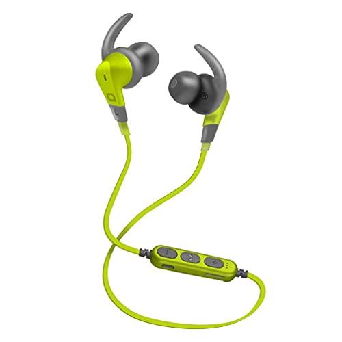 SBS Auricolari Sportivi Wireless v4.2 con Lettore TF Card Mp3, Controller con Tasti Multifunzione per chiamate e Musica, Funzione multipoint per collegare 2 dispositivi contemporaneamente, Verde acido